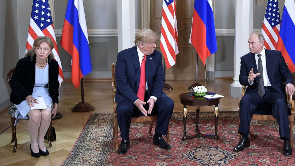 President Donald Trump meets with Russian President Vladimir Putin at the Presidential Palace in Helsinki, Finland, July 16, 2018. In picture at left is seen US interpreter Marina Gross. According to media reports, US opposition politicians are calling for Gross to be subpoenaed before Congress amid growing concerns on the controversial two-hour closed-door summit talks between Trump and Putin, in which only the two leaders' translators were present.