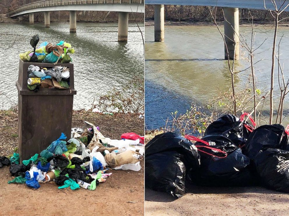 PHOTO: Becky Brown cleaned up trash at Roosevelt Island National Park in Washington D.C.