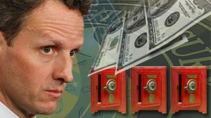 Photo: Geithner announces bailout repayments will be reused for smaller banks, says financial system now starting to heal
