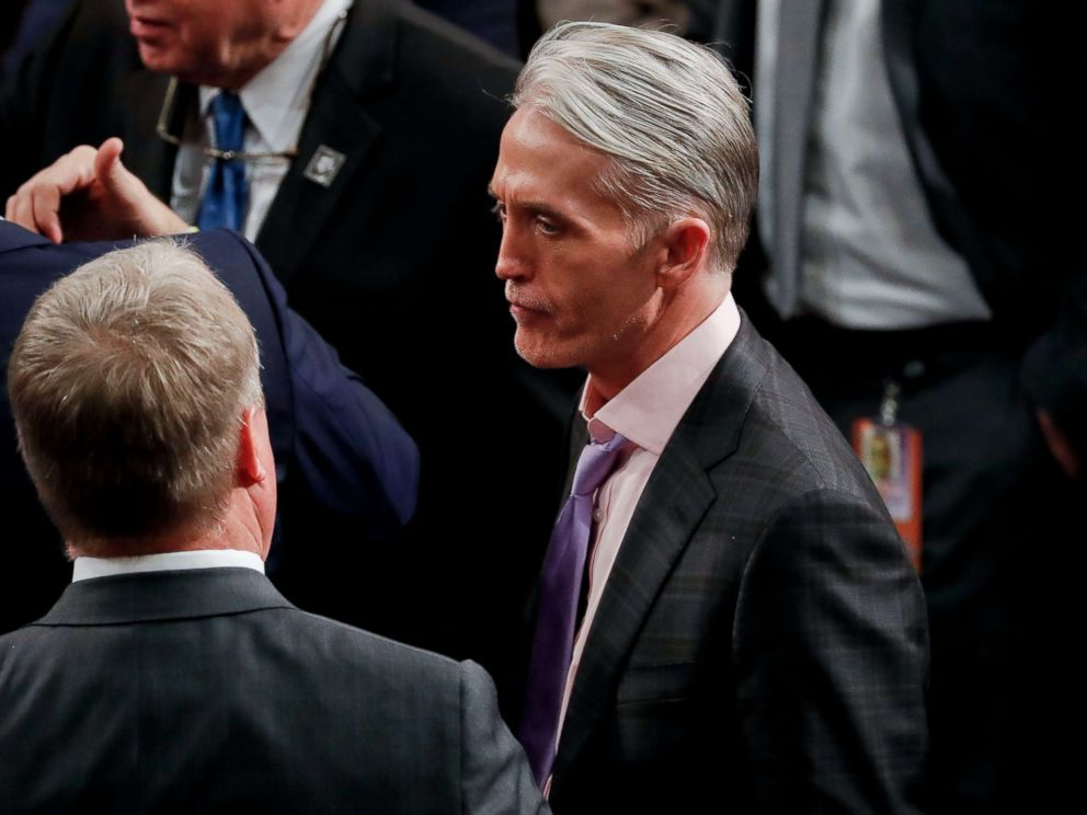 PHOTO: Rep. Trey Gowdy, R-SC., on the House floor for the arrival of President Donald Trump to addresses a joint session of Congress on Capitol Hill in Washington, Jan. 30, 2018.