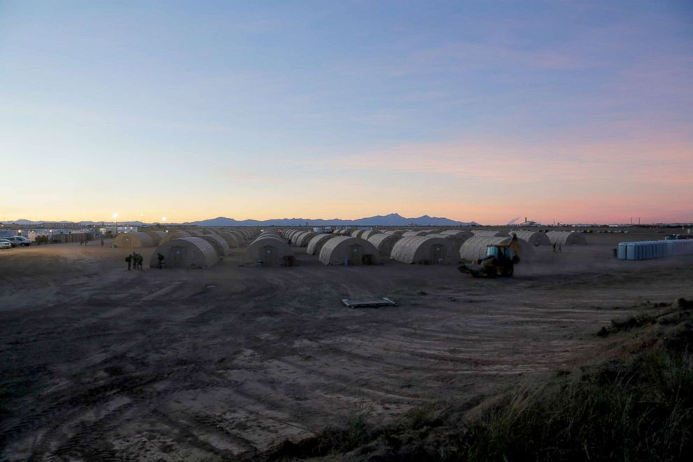 The sun sets on a tent city were soldiers continue to work through the night supporting U.S. Customs and Border Protection agency at Davis-Monthan Air Force Base, Ariz., Nov. 4, 2018.
