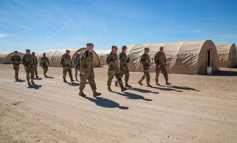 US Army commanders tour Sunglow tent city at Davis-Monthan Air Force Base, Ariz., Nov. 4, 2018.