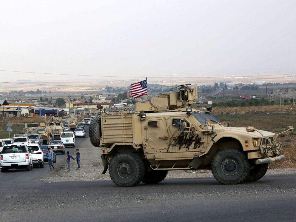 PHOTO: A convoy of US troops arrives back from northeastern of Syria, in Duhok, Kurdistan region, Iraq, Oct. 21, 2019.