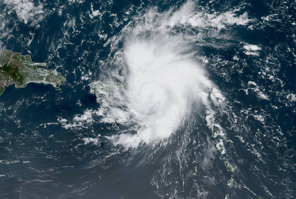 PHOTO: Tropical Storm Dorian bears down on Puerto Rico in a satellite image from NOAA captured on Aug. 28, 2019.