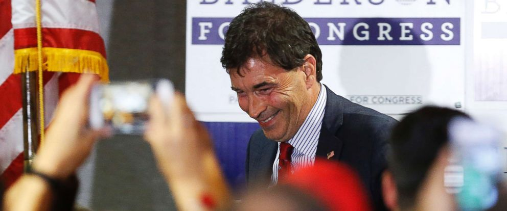 PHOTO: Troy Balderson, Republican candidate for Ohios 12th Congressional District, shakes hands with a few supporters during an election night party Tuesday, Aug. 7, 2018, in Newark, Ohio.