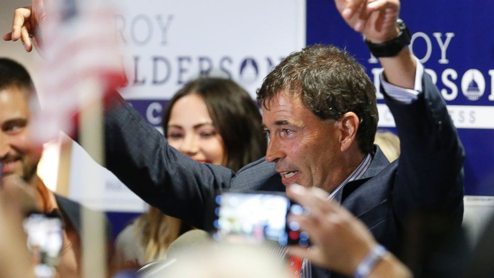 Troy Balderson, Republican candidate for Ohio's 12th Congressional District, greets a crowd of supporters during an election night party Tuesday, Aug. 7, 2018, in Newark, Ohio.