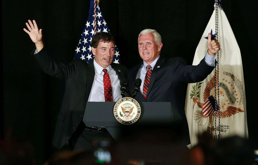 Troy Balderson appears at a rally with Vice President Mike Pence, right, in Newark, Ohio, July 30, 2018.