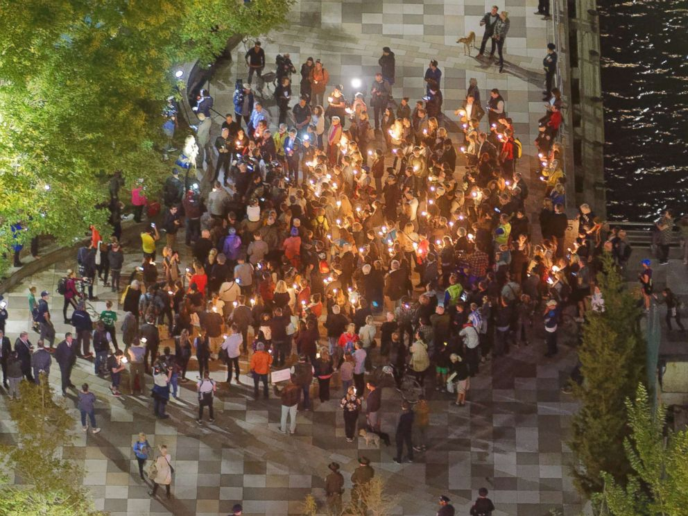 PHOTO: New Yorkers gather in Tribeca for a candle light vigil for the victims of the Oct. 31 terrorist attack by Sayfullo Habibullaevich Saipov, the Muslim man who drove a pickup truck into cyclists and runners alongside West Street, in Lower Manhattan.