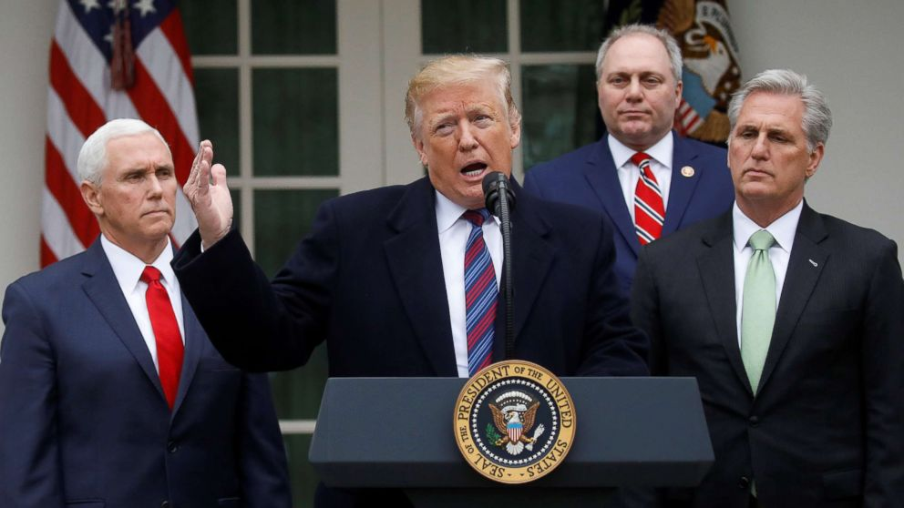 President Donald Trump speaks with reporters following a meeting with congressional leadership on the ongoing partial government shutdown in the Rose Garden of the White House in Washington, Jan. 4, 2019.