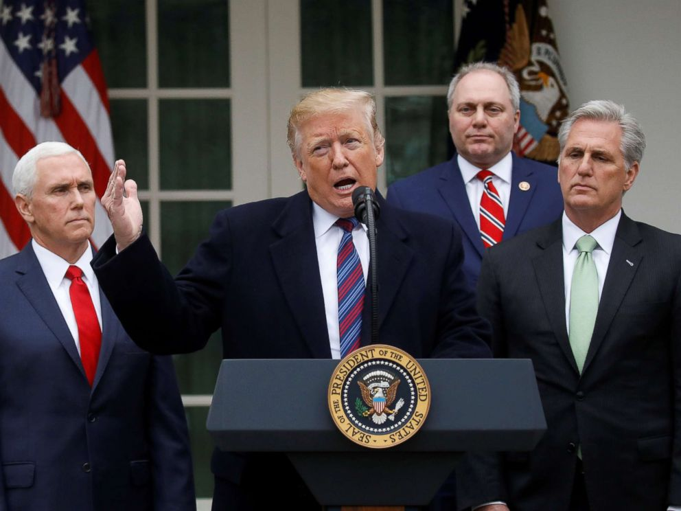 PHOTO: President Donald Trump speaks with reporters following a meeting with congressional leadership on the ongoing partial government shutdown in the Rose Garden of the White House in Washington, Jan. 4, 2019.