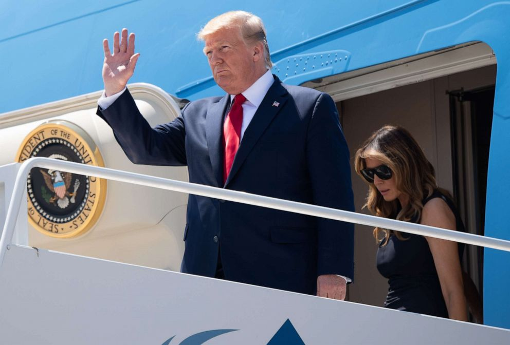 PHOTO: US President Donald Trump and First Lady Melania Trump disembark from Air Force One upon arrival at El Paso International Airport in El Paso, Texas, August 7, 2019.