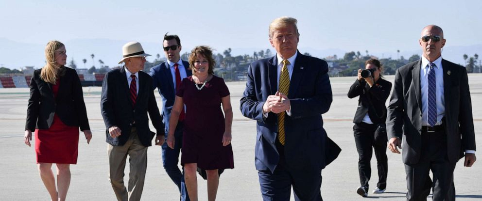 PHOTO: Donald Trump just landed at LAX on his way to attend fundraisers in Los Angeles on September 17, 2019.