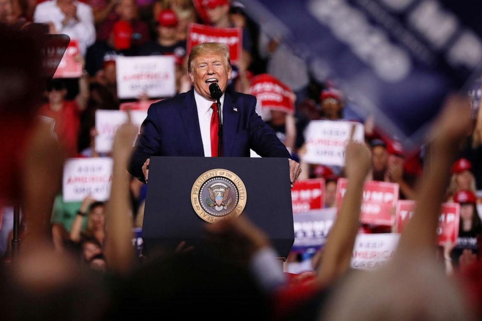 PHOTO: U.S. President Donald Trump rallies with supporters in Manchester, New Hampshire U.S. August 15, 2019.
