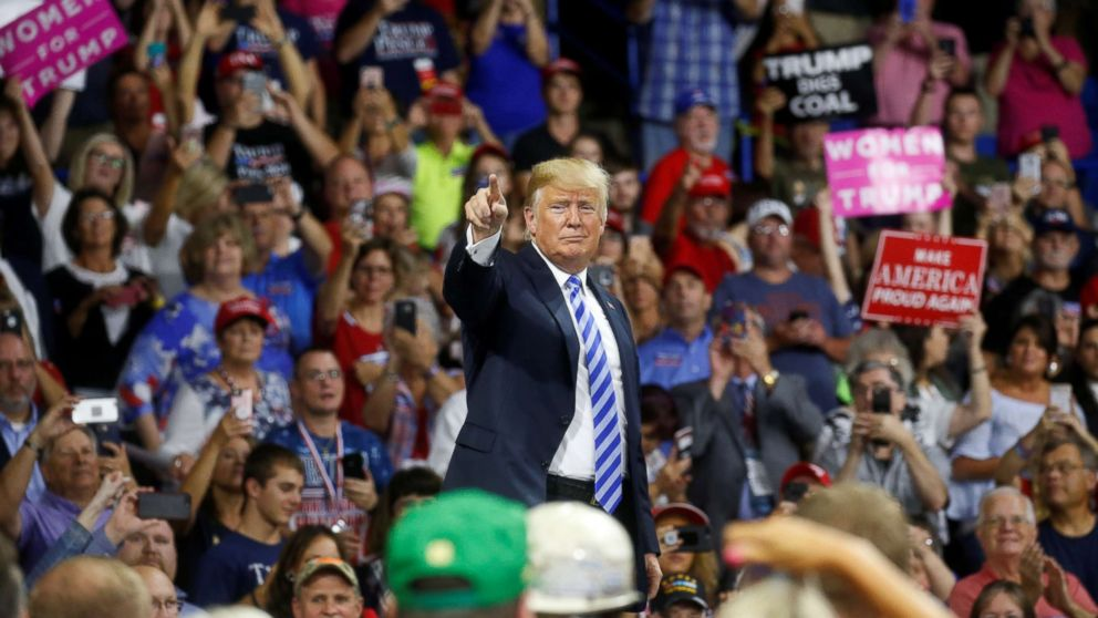 Donald Trump acknowledges supporters during a Make America Great Again rally at the Civic Center in Charleston, W.V., Aug. 21, 2018.