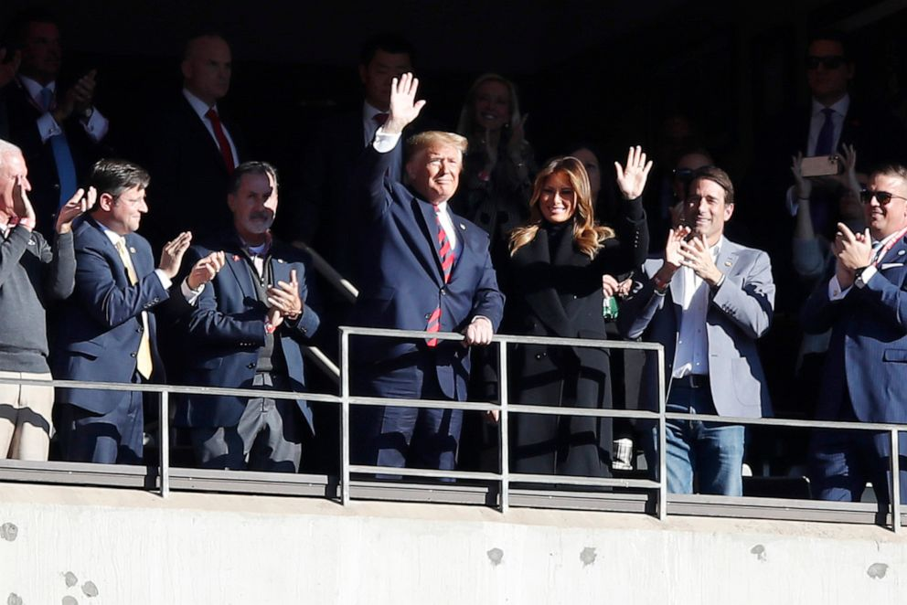 PHOTO: President Donald Trump and first lady Melania Trump attend the game between the LSU Tigers and the Alabama Crimson Tide at Bryant-Denny Stadium, Nov. 9, 2019, in Tuscaloosa, Ala.