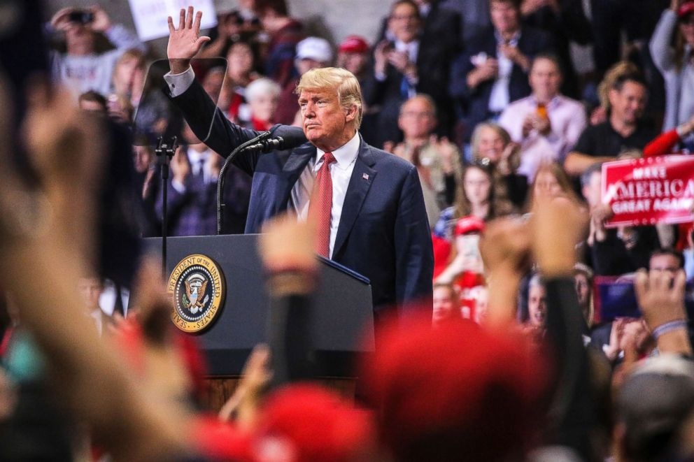 PHOTO: President Donald Trump waves after speaking at a rally, Oct. 4, 2018, at the Mayo Civic Center in Rochester, Minn.