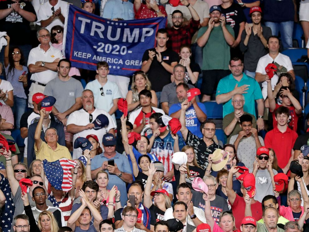 PHOTO: Supporters of President Donald Trump cheer during a rally where he will formally announce his 2020 re-election bid, June 18, 2019, in Orlando, Fla.