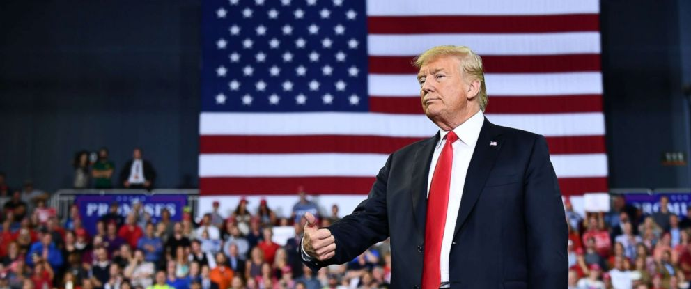 PHOTO: President Donald Trump gestures during a campaign rally at Ford Center in Evansville, Ind., Aug. 30, 2018.