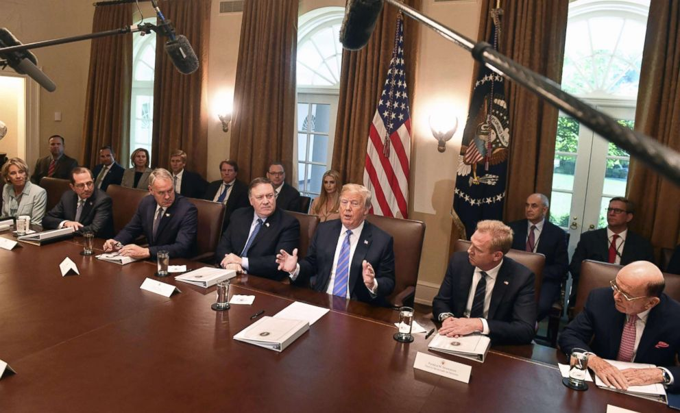 PHOTO: President Donald Trump speaks during a cabinet meeting, July 18, 2018, at the White House.