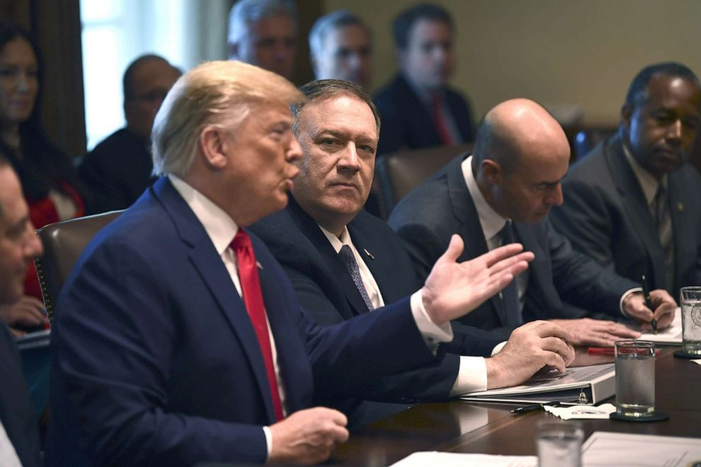PHOTO: President Donald Trump speaks next to US Secretary of State Mike Pompeo during a Cabinet Meeting at the White House, Oct. 21, 2019.