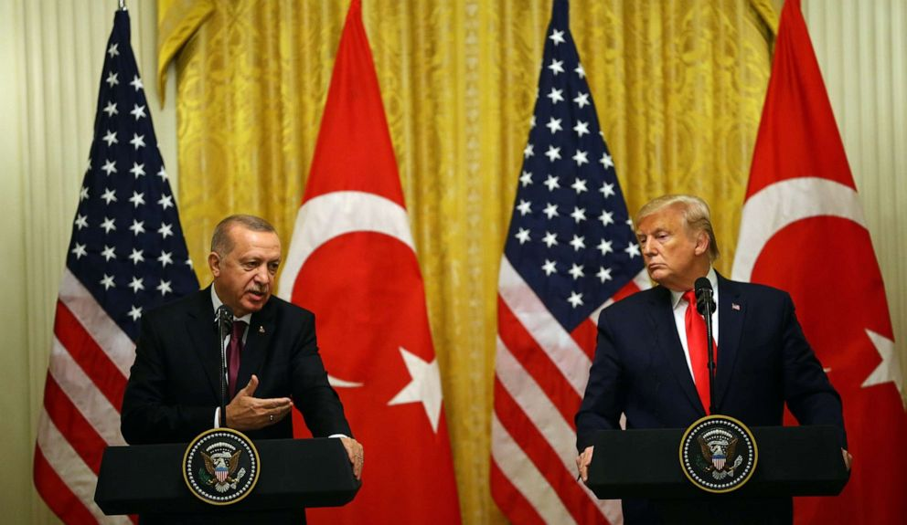 PHOTO: President of Turkey, Recep Tayyip Erdogan and President Donald Trump hold a joint press conference following their meeting at the White House, Nov. 13, 2019.