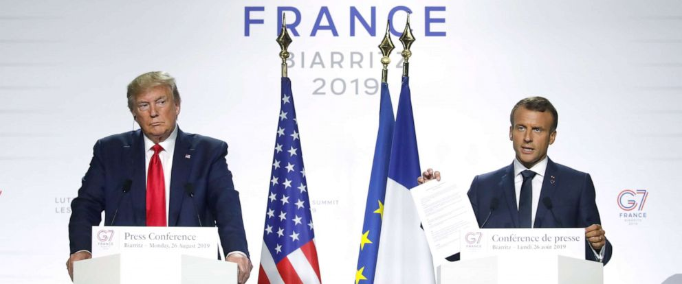 PHOTO: President Donald Trump and French President Emmanuel Macron attend a joint press conference at the end of the G7 summit in Biarritz, France, Aug. 26, 2019.