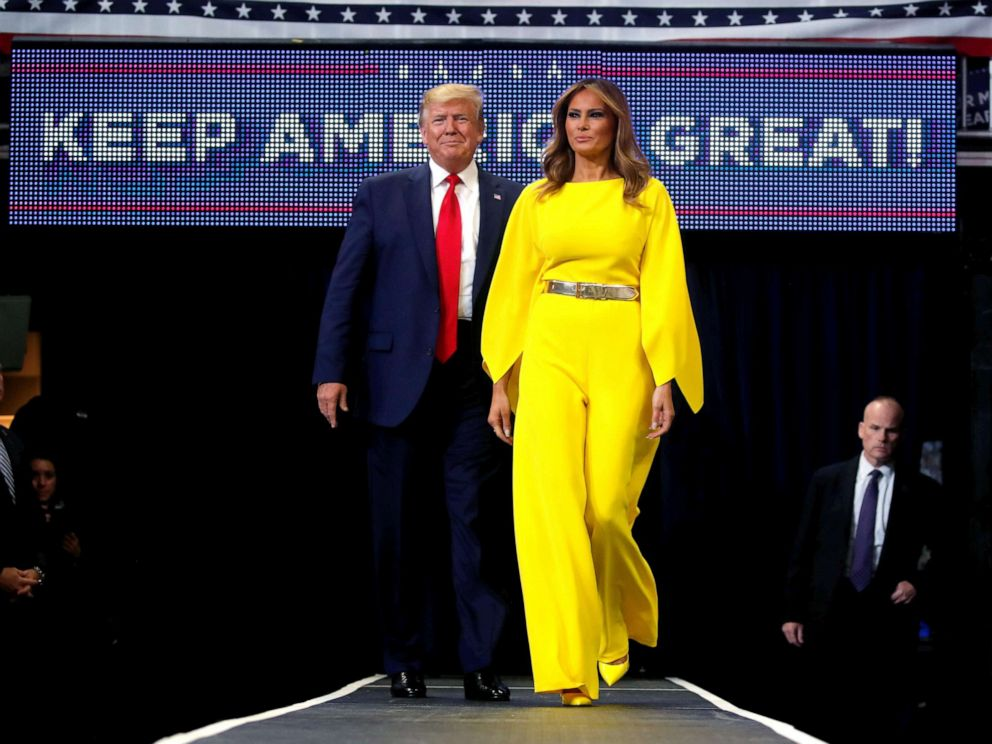 PHOTO: President Donald Trump and first lady Melania Trump arrive on stage to formally kick off his re-election bid with a campaign rally in Orlando, Fla., June 18, 2019.