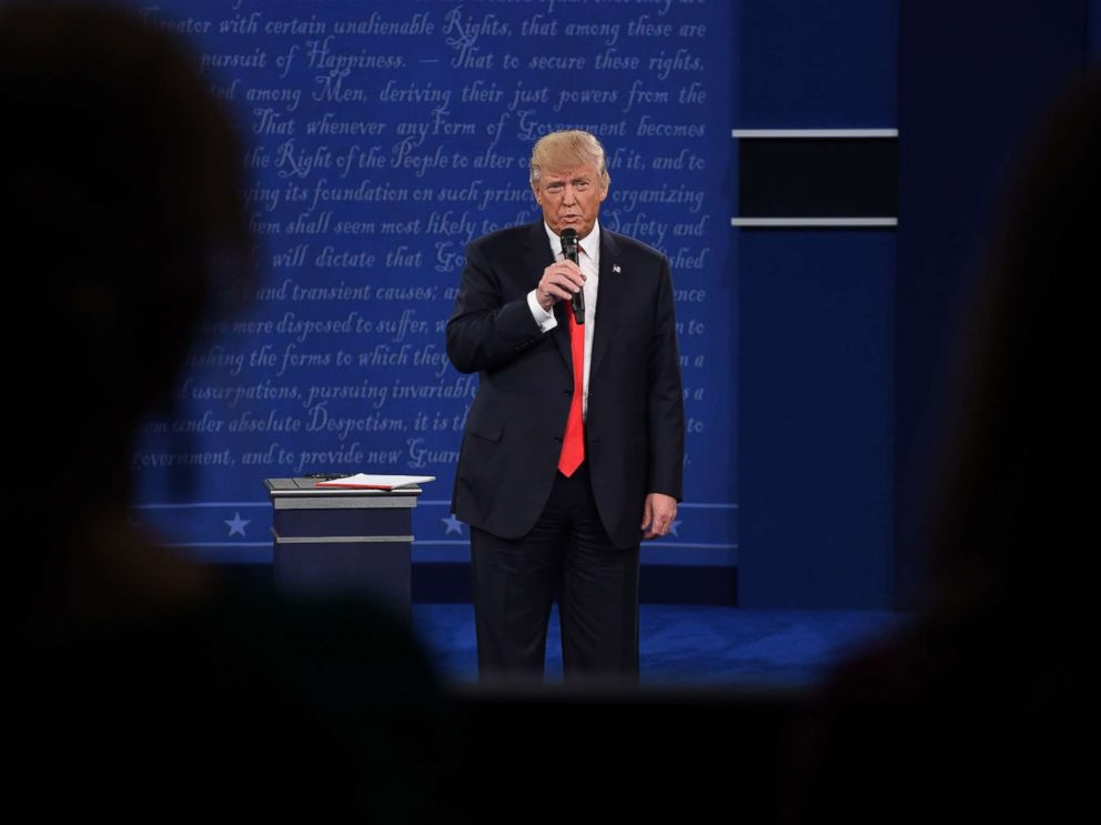 PHOTO: Republican presidential candidate Donald Trump speaks during the second presidential debate at Washington University in St. Louis, Missouri, Oct. 9, 2016.