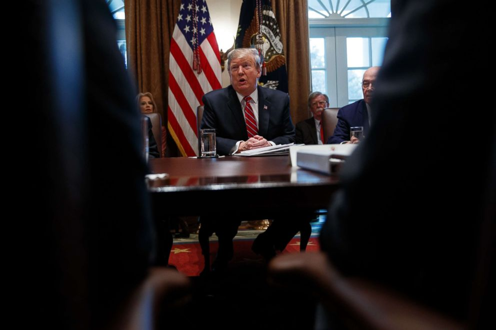 PHOTO: President Donald Trump speaks during a cabinet meeting at the White House, Feb. 12, 2019.