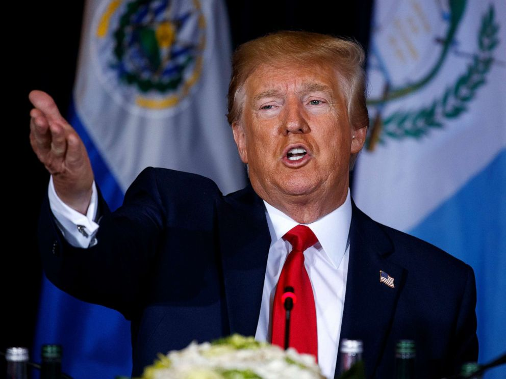 PHOTO: President Donald Trump speaks during a multilateral meeting on Venezuela at the InterContinental New York Barclay hotel during the United Nations General Assembly, Sept. 25, 2019, in New York.