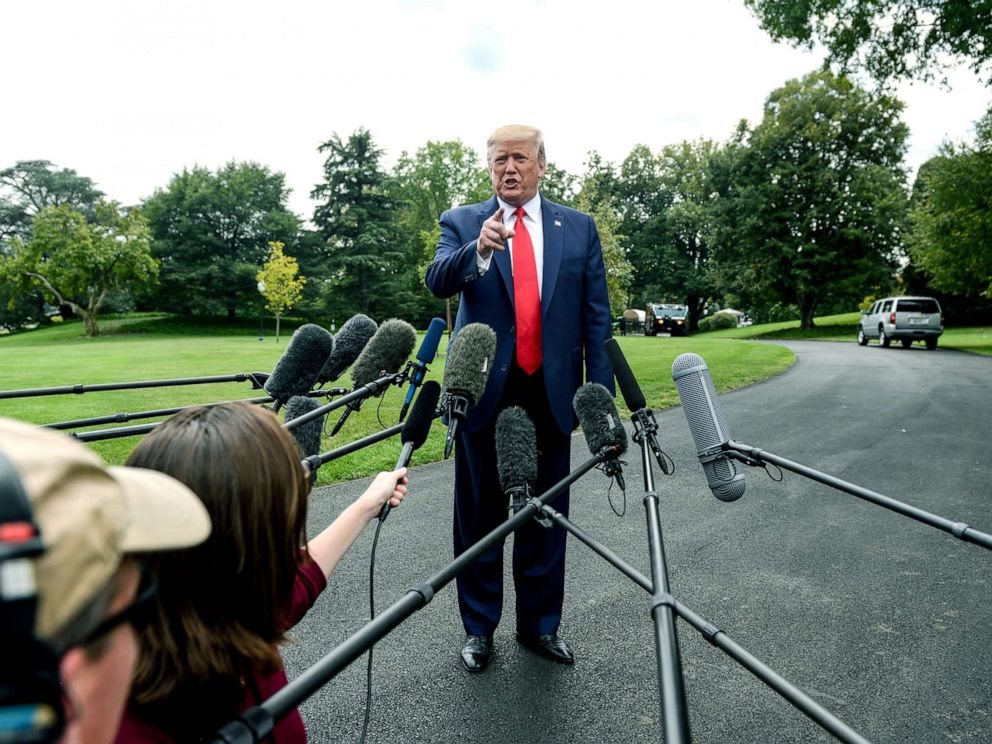 PHOTO: President Donald Trump speaks to reporters at the White House, Sept. 9, 2019.