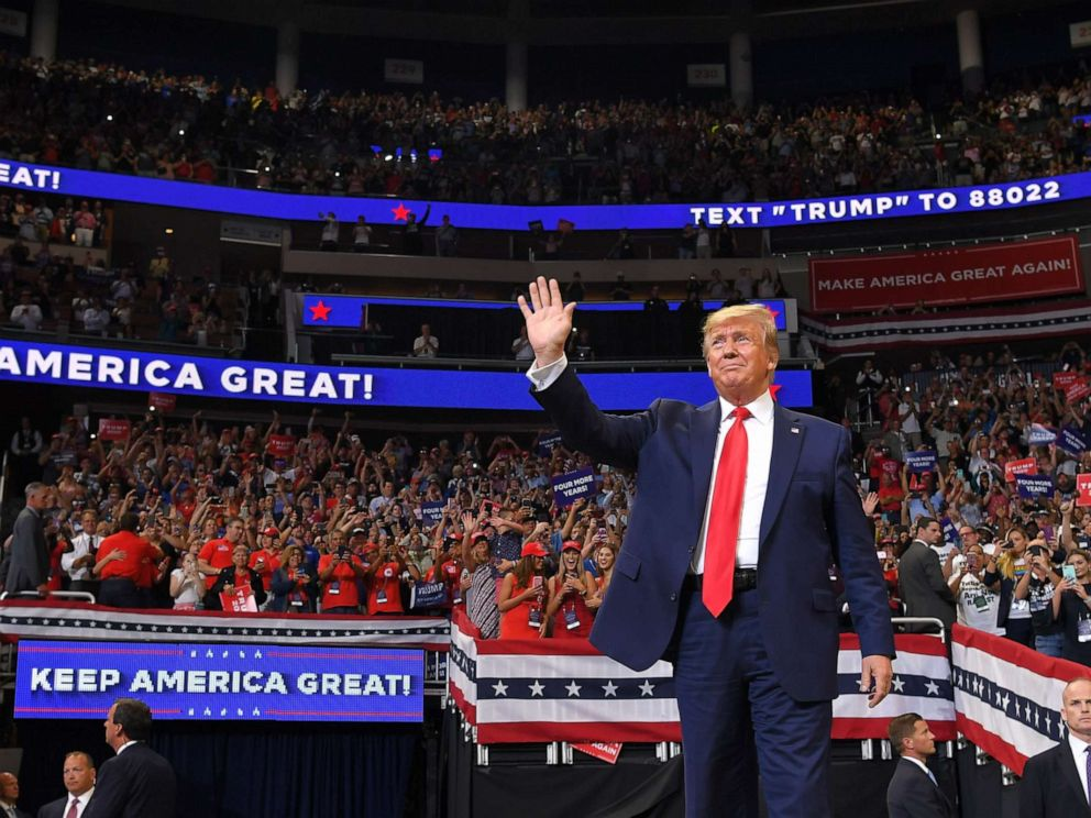 PHOTO: President Donald Trump arrives to speak during a rally at the Amway Center in Orlando, Fla. to officially launch his 2020 campaign, June 18, 2019.