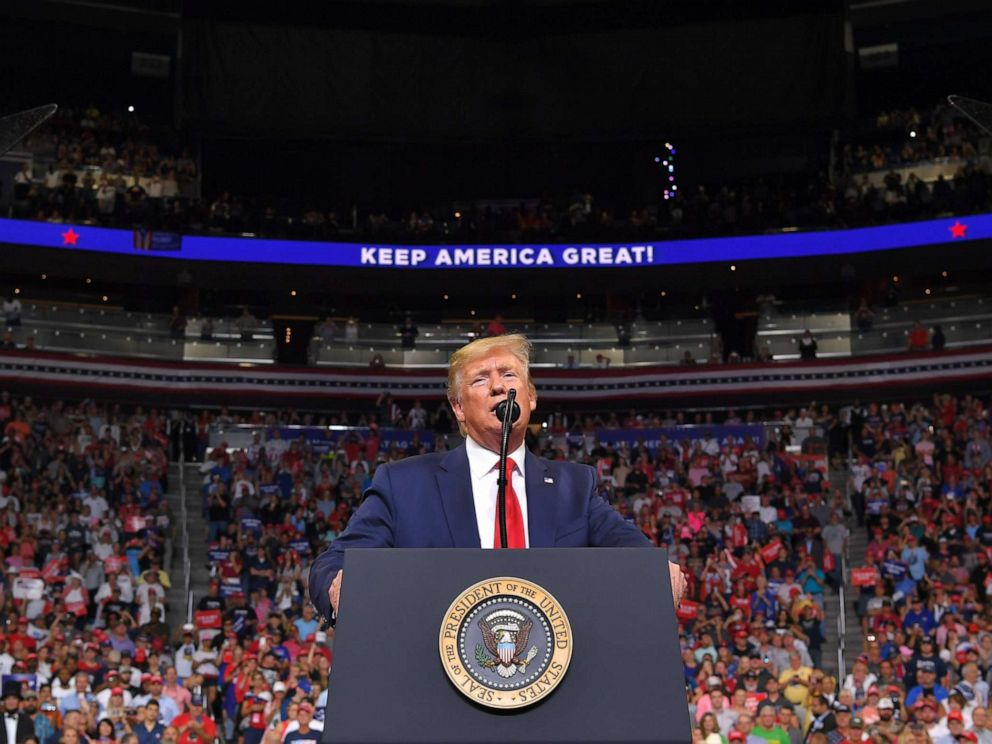 PHOTO: President Donald Trump speaks during a rally at the Amway Center in Orlando, Florida to officially launch his 2020 campaign, June 18, 2019.