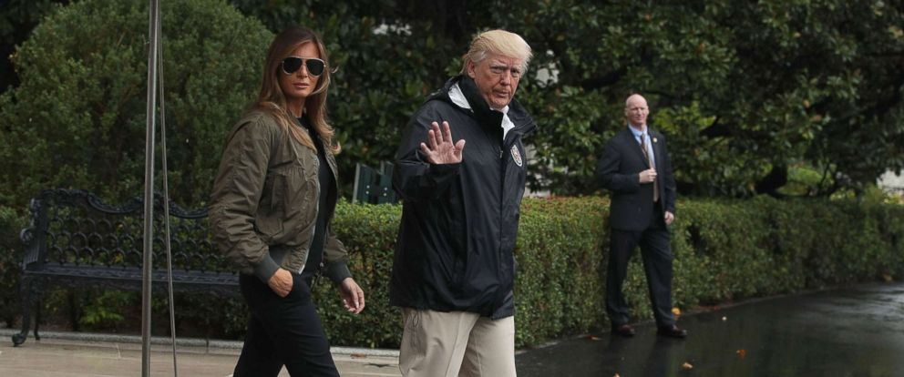 PHOTO: President Donald Trump walks with first lady Melania Trump prior to their Marine One departure from the White House, Aug. 29, 2017.