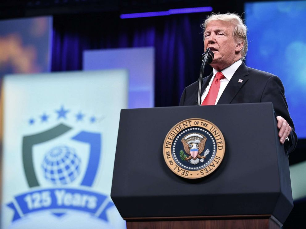 PHOTO: President Donald Trump addresses the International Association of Chiefs of Police (IACP) annual convention at the Orange County Convention Center in Orlando, Fla., Oct. 8, 2018.