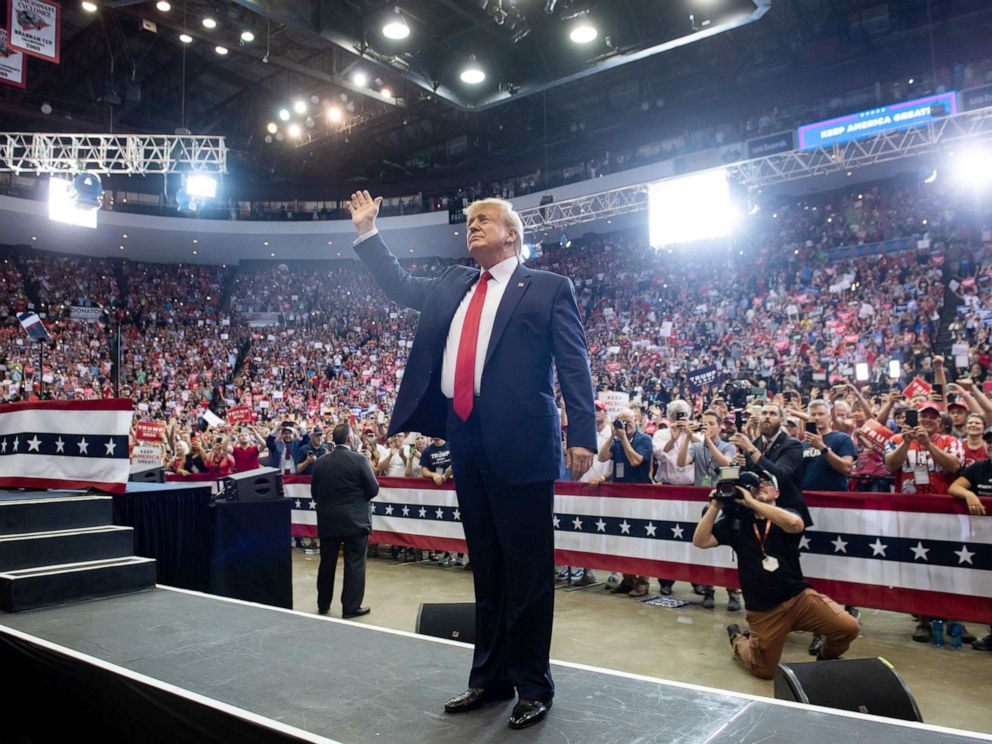 PHOTO: President Donald Trump waves as he arrives to a Make America Great Again campaign rally in Cincinnati, Aug. 1, 2019.