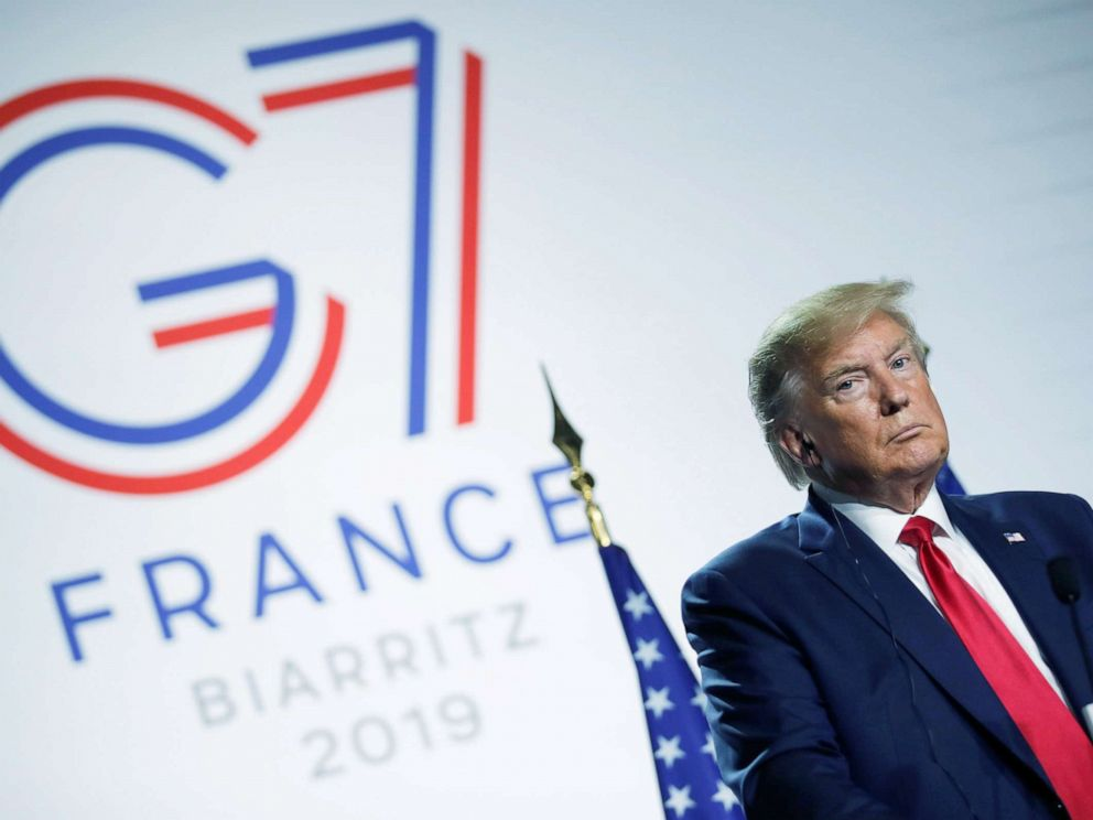 PHOTO: President Donald Trump looks on during a news conference at the end of the G7 summit in Biarritz, France, Aug. 26, 2019.