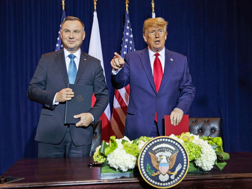 PHOTO: President Donald Trump and Polish President Andrzej Duda talk after signing a joint defense declaration agreement during the United Nations General Assembly, Sept. 23, 2019, in New York.