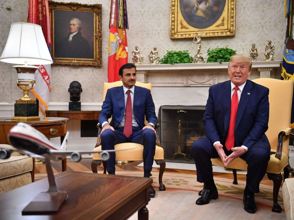 PHOTO: President Donald Trump meets with the emir of Qatar Sheikh Tamim bin Hamad al-Thani in the Oval Office, July 9, 2019.