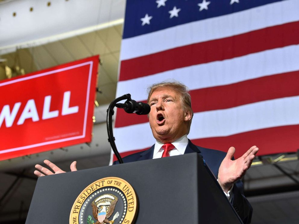 PHOTO: President Donald Trump speaks during a rally in El Paso, Texas on Feb. 11, 2019.