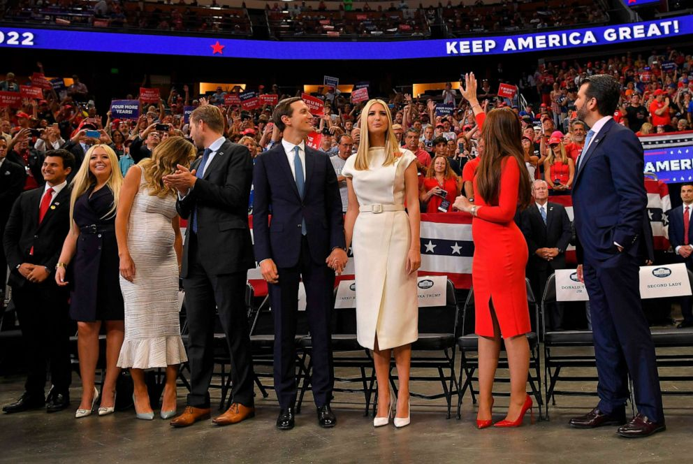 PHOTO: Michael Boulos, Tiffany Trump, Lara Trump, Eric Trump, Jared Kushner, Ivanka Trump, Kimberly Guilfoyle, and Donald Trump Jr. arrive at a rally for President Donald Trump, in Orlando, Fla., June 18, 2019.