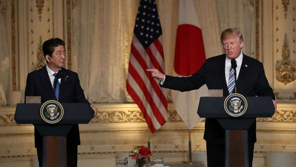 President Donald Trump and Japanese Prime Minister Shinzo Abe hold a news conference at Mar-a-Lago resort on April 18, 2018 in West Palm Beach, Fla.