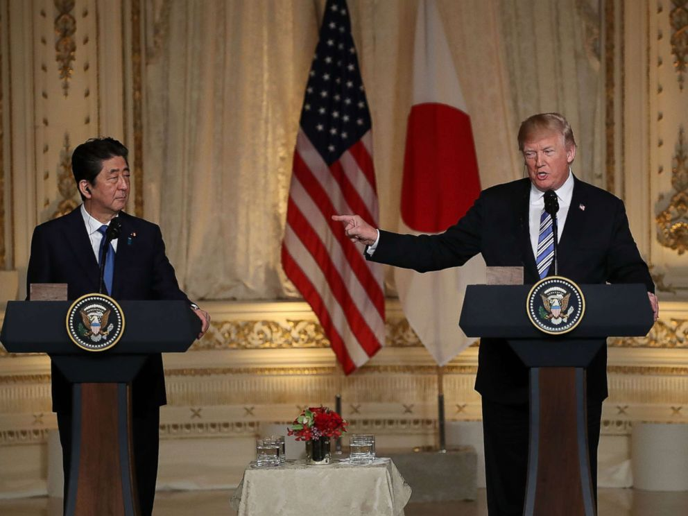 PHOTO: President Donald Trump and Japanese Prime Minister Shinzo Abe hold a news conference at Mar-a-Lago resort on April 18, 2018 in West Palm Beach, Fla.