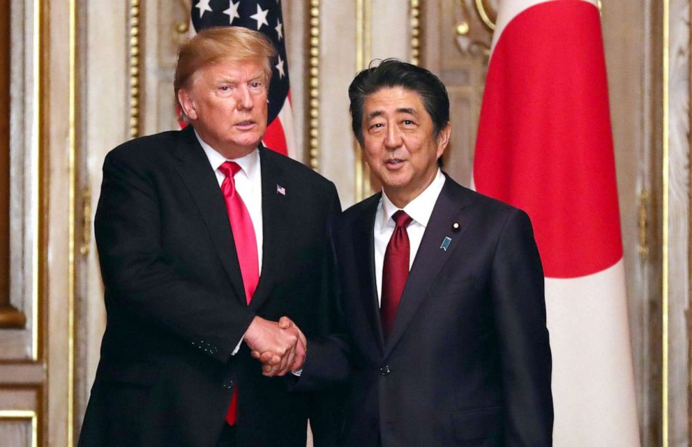 PHOTO: President Donald Trump shakes hands with Japanese Prime Minister Shinzo Abe prior to their working luncheon in Tokyo, May 27, 2019.