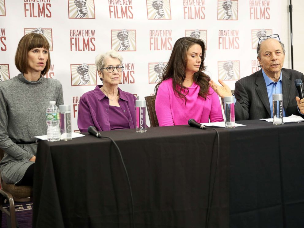 PHOTO: (L-R) Rachel Crooks, Jessica Leeds, Samantha Holvey and founder and president of Brave New Films Robert Greenwald speak during the press conference held by women accusing Trump of sexual harassment, Dec. 11, 2017, in New York City.