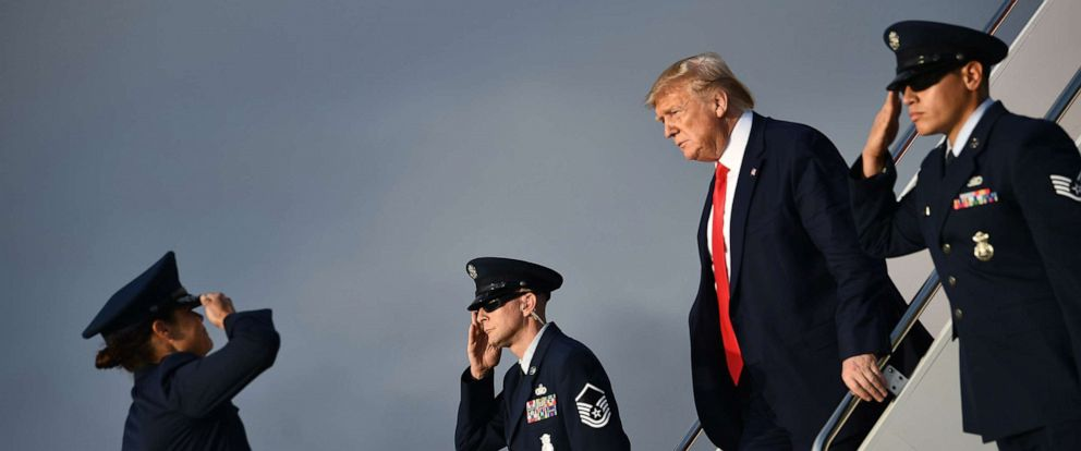 PHOTO: President Donald Trump disembarks Air Force One at Joint Base Andrews in Maryland, on Oct. 3, 2019, after returning from Florida.