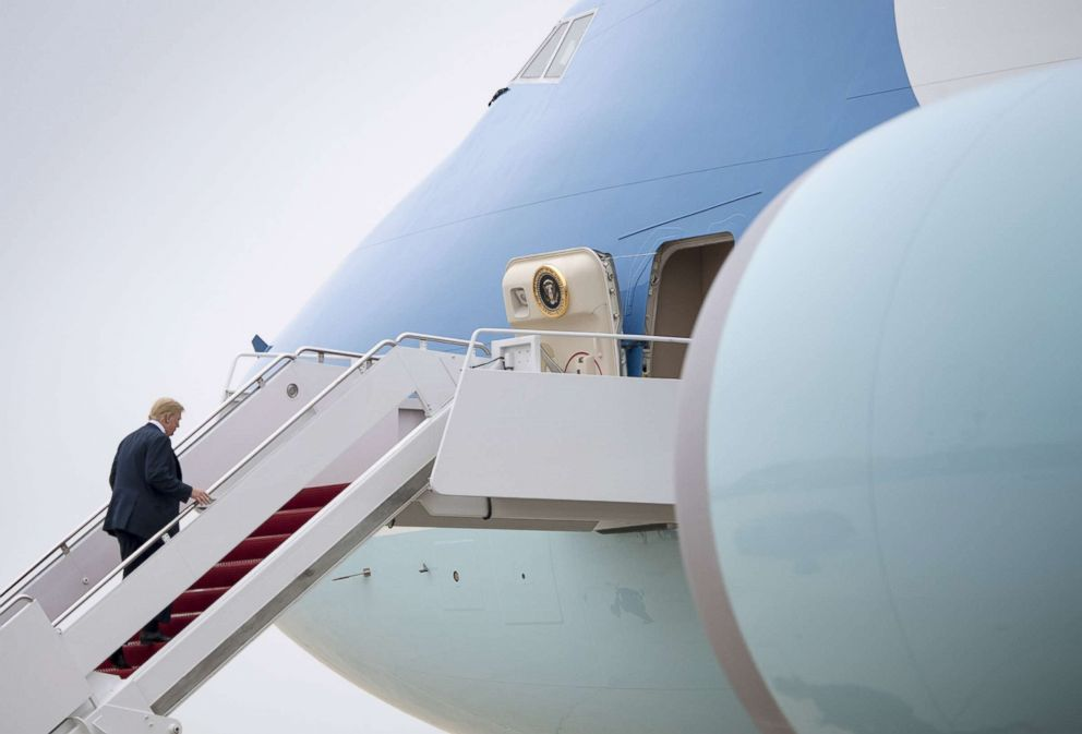 PHOTO: President Donald Trump boards Air Force Once as he departs for a trip to Texas, May 31, 2018 at Joint Base Andrews, Maryland.