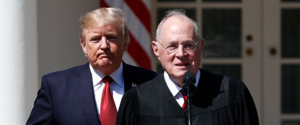 PHOTO: President Donald Trump and Supreme Court Justice Anthony Kennedy participate in a public swearing-in ceremony for Justice Neil Gorsuch in the Rose Garden of the White House in Washington, April 10, 2017.