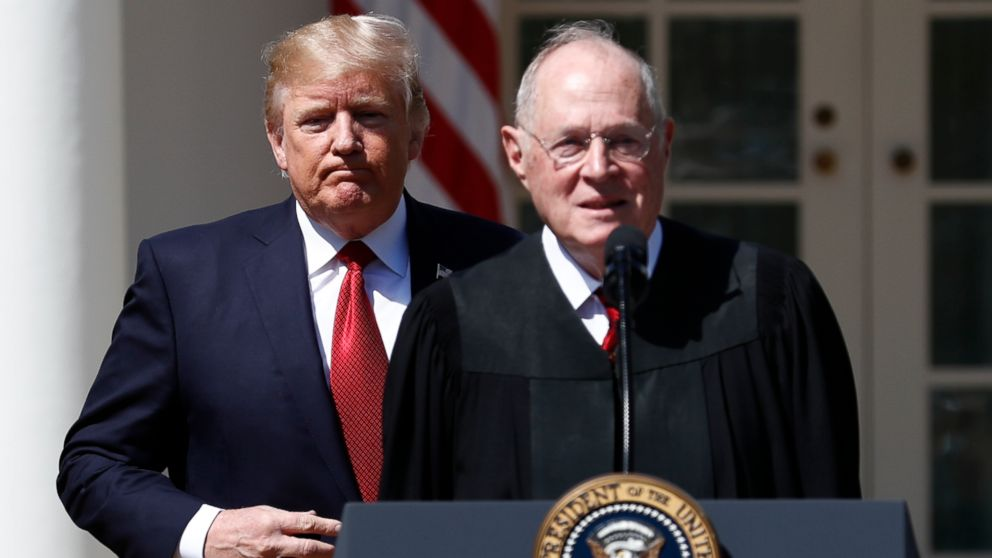 President Donald Trump and Supreme Court Justice Anthony Kennedy participate in a public swearing-in ceremony for Justice Neil Gorsuch in the Rose Garden of the White House in Washington, April 10, 2017.