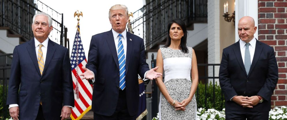 PHOTO: President Donald Trump speaks as Secretary of State Rex Tillerson, U.S. Ambassador to the United Nations Nikki Haley and national security adviser H.R. McMaster listen at Trump National Golf Club in Bedminster, N.J., Aug. 11, 2017.